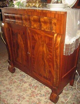 39908 ANTIQUE EMPIRE PERIOD MAHOGANY CHERRY OGEE SIDEBOARD