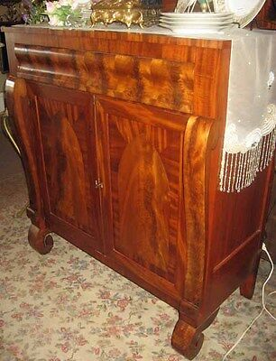 ANTIQUE EMPIRE PERIOD MAHOGANY CHERRY OGEE SIDEBOARD