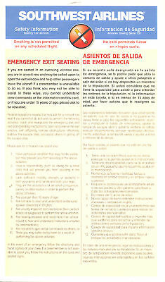 Safety Card - Southwest - B737 - 8/98 (S2464)