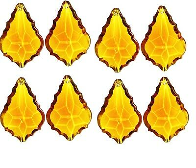 """10 French crystal CHANDELIER prism lot 50mm 2"""",amber"""