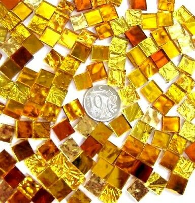 50 Mixed Gold Mosaic MIRROR TILES 1cm x 1cm Scrapbook Arts crafts