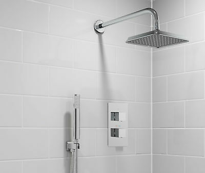 Modern Thermostatic Square Mixer Shower Valve Tap & Handheld Head Sp9242