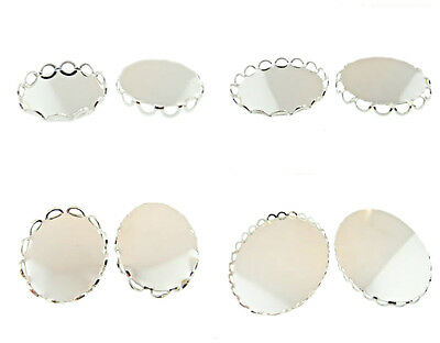 Rhodium Lace Edge Settings Made In The USA 36 Pieces - Choose Size & Shape