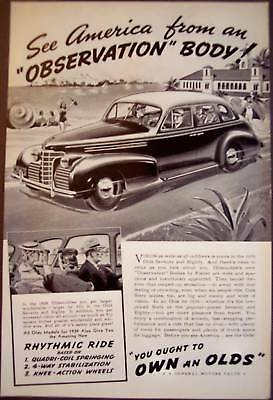 """OLDSMOBILE Car w/ """"Observation"""" body by Fisher 1938 Ad"""