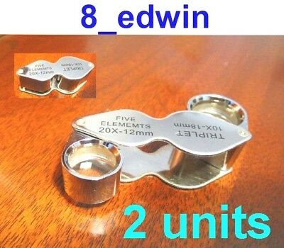 2 Units of 10x AND 20x Jeweler's Loupe Dual lenses