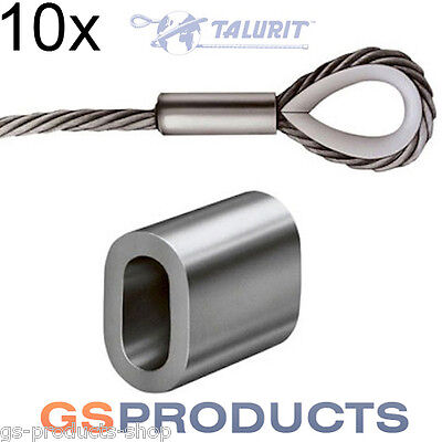 10x 3mm Aluminium Ferrules Steel Wire Rope Crimping Sleeve Clamp TALURIT