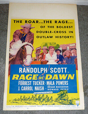 RAGE AT DAWN original 1955 RKO movie poster RANDOLPH SCOTT/MALA POWERS