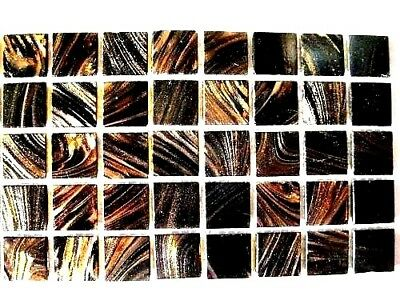 25 Dark Brown with Copper Vitreous Mosaic Glass Tiles 2cm x 2cm