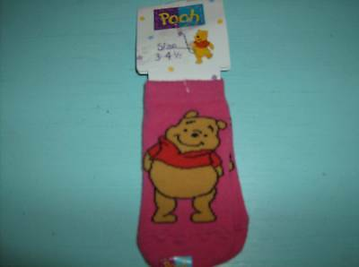 Winnie The Pooh Size 3 - 4 1/2 Cotton Blend Pink Socks Approx Age 6 to 12 Mon