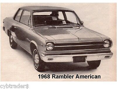 1968 Rambler American Auto Refrigerator / Tool Box Magnet Gift Card Insert