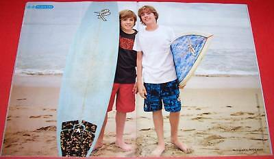 """DYLAN & COLE SPROUSE BAREFOOT - 16"""" x 11"""" TEEN MAGAZINE POSTER PINUP BOY ACTOR"""