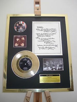 "The Beatles Yesterday 7"" Gold Record Single + Hand Written Lyrics Display"