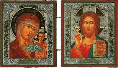 Foldable Russian Orthodox Icons Diptych Christ The Teacher and Virgin of Kazan
