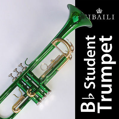 Green Bb CIBAILI Trumpet • High Quality • Brand New With Case •