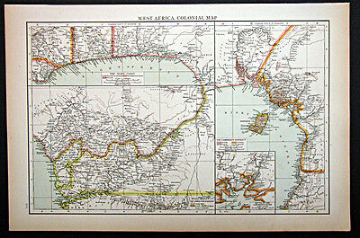 1895 1st. edition Times Atlas map West Africa Colonial