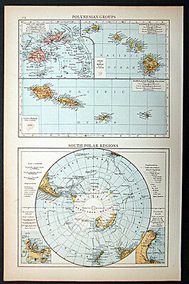 1895 1st. edition Times Atlas map Polynesian Groups and South Polar Region