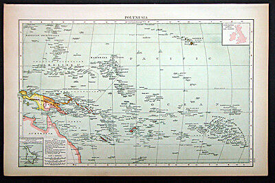 1895 1st. edition Times Atlas map Polynesia