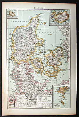 1895 1st. edition Times Atlas map Denmark