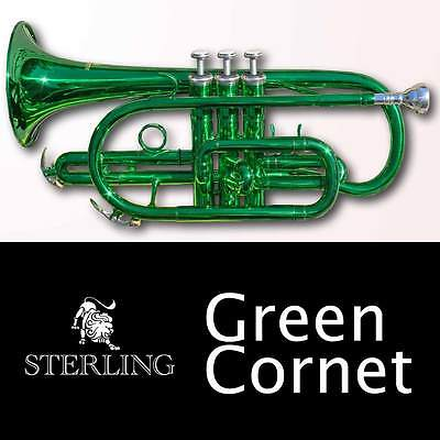 GREEN Pro Sterling Bb CORNET • With Case • BRAND NEW •