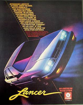 Dodge LANCER automobile vintage 1985 Ad