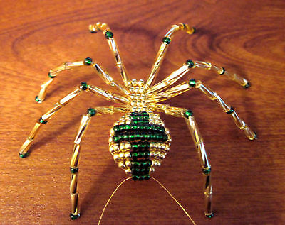 Green And Gold Cross Beaded Spider Christmas Ornament