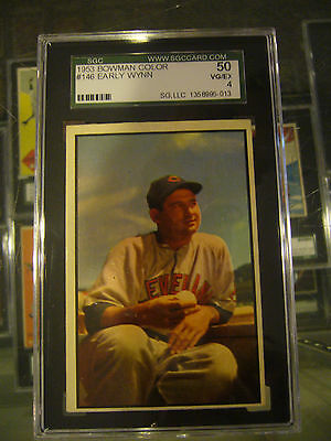 1953 Color Bowman #146 Early Wynn Cleveland Indians Baseball Card Sgc 50 4 Vg/ex