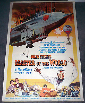 MASTER OF THE WORLD large 40x60 poster VINCENT PRICE/CHARLES BRONSON huge rolled
