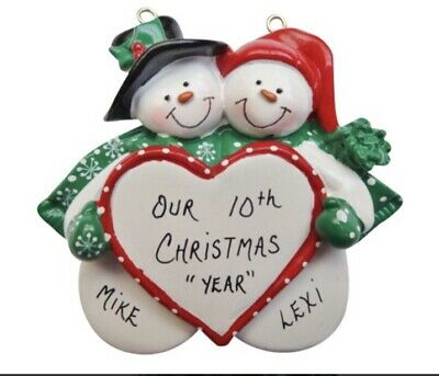 Personalized Snowmen Couple on Heart Christmas Ornament