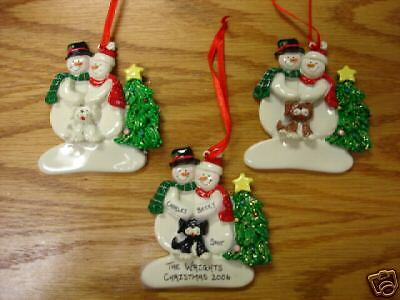 Personalized Snowmen Couple w/ Dog Christmas Ornament