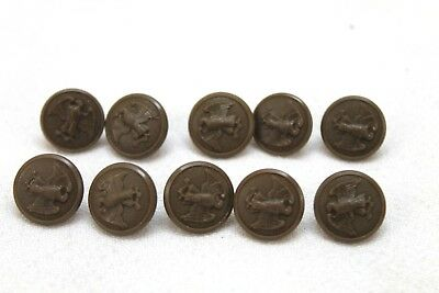 WWII US Wac Walking eagle brown 5/8in 16 mm 24L plastic buttons lot of 10 B1919