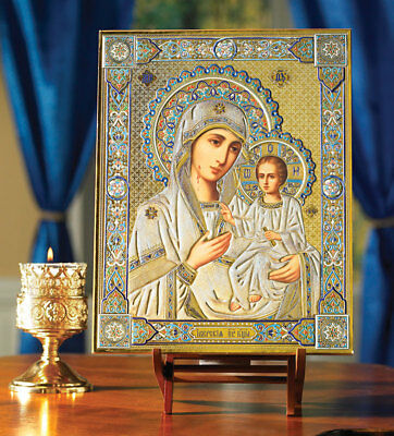 Virgin Mary madonna and Child  Gold Embossed Russian Wooden Icon 10 Inch