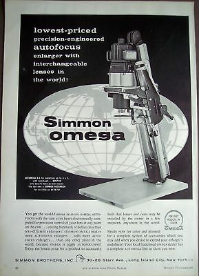 1958 Simmon Omega Autofocus enlarger vintage ad