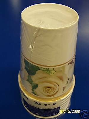 Champagne Wedding Gold White Rose Bridal Anniversary Party 9 oz. Paper Cups