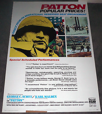 PATTON orig 1970 large ROLLED 40x60 movie poster GEORGE C. SCOTT/ARMORED TANKS