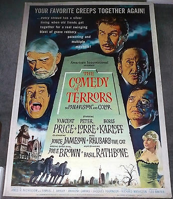 COMEDY OF TERRORS original 40x60 poster VINCENT PRICE/BORIS KARLOFF/PETER LORRE