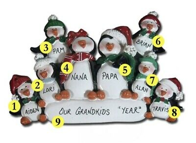 Personalized Penguin Family of 8 Christmas Ornament