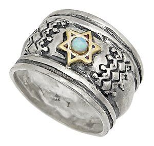 Sterling Silver & Gold w/ Opal Star of David Ring Nice!