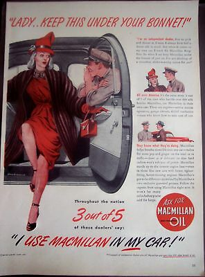 1947 Macmillan Ring-Free Motor Oil for cars vintage ad