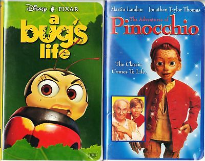 A Bug's Life (VHS, 1999)& Adventures of Pinocchio;2 VHS