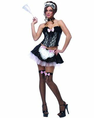 Maid to Serve French Chamber Upstairs Pink Dress Up Halloween Sexy Adult Costume  sc 1 st  PicClick & FRENCH MAID UPSTAIRS Chamber Satin Fancy Dress Up Halloween Sexy ...