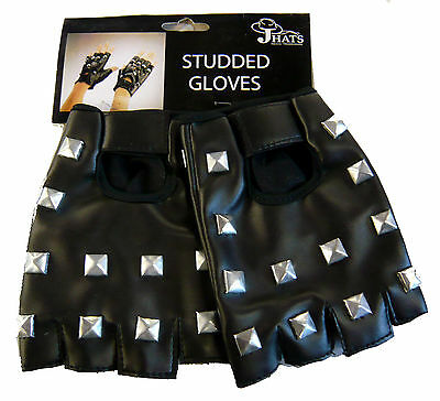 Punk Studded Fingerless Gloves Pair Studded Gloves Black Motorcycle Gloves 16413