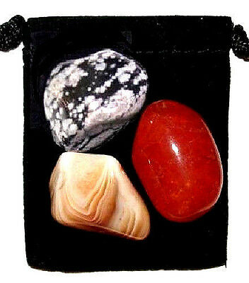 2nd SACRAL (NAVAL) CHAKRA Tumbled Crystal Healing Set = 3 Stones + Pouch + Card