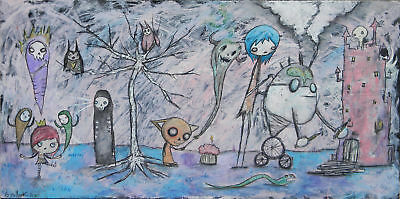 GUS FINK Art outsider lowbrow pop abstract surreal comic CREATION OF A KINGDOM