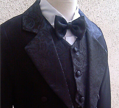 B11 New Black  Boy Penguin Tuxedo with Tail  & Vest  Formal suit wedding recital
