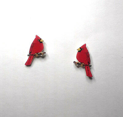 Bright Red Cardinal on Branch Stud Earrings