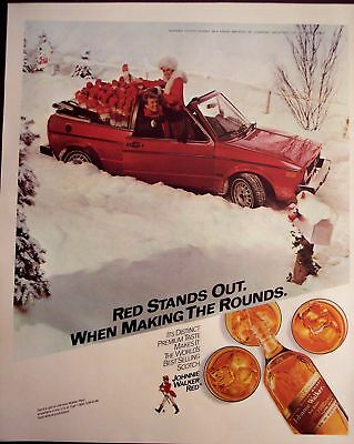 1983 Johnnie Walker Whisky red car vintage holiday ad