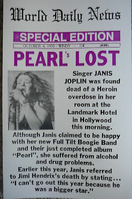 World Daily News Front Page Janis Joplin's Death Poster