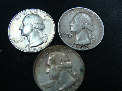 2 1964 Silver Quarters and 1 1952