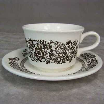 Royal China Dinnerware USA Americana Sussex Brown Coffee Tea Cup and Saucer