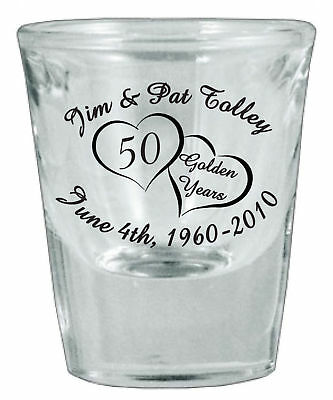48 Personalized 50th Anniversary Favor Shot Glasses NEW